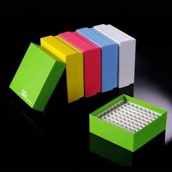 """Kartonowe kriopudełko 2"""" ID-Color TM z plastikową kratownicą dostępne w 5 kolorach na 81x1.5ml/2.0ml , -196ºC to 121ºC, 20szt"""