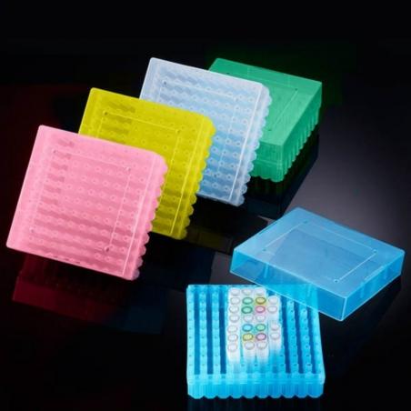 CRYO pudełko z PP, na krioprobówki i probówki Eppendorf 100x1.5ml/2.0ml, -90ºC to 121ºC, BIOLOGIX, 1 szt